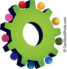 collaboration, vert, engrenage, logo