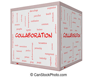 Collaboration Word Cloud Concept on a 3D cube Whiteboard...