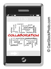 Collaboration Word Cloud Concept on Touchscreen Phone -...