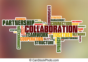 Collaboration word cloud with abstract background