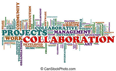 Collaboration word tags - Illustration of wordcloud...