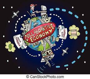 collaborative, économie, mondiale, illust