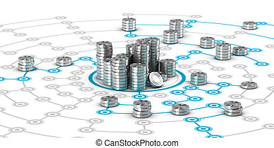 Collaborative Finance, Crowdfunding - Many symbolic coins on...