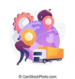 collaborative, illustration., pojęcie, logisty, abstrakcyjny, wektor