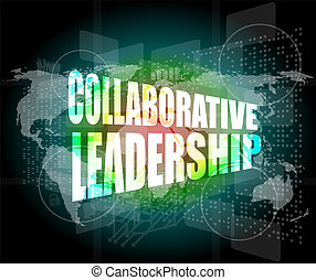 collaborative leadership review on touch screen, media...