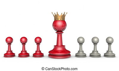 Collaborators (chess metaphor). - Chess pieces on a white...