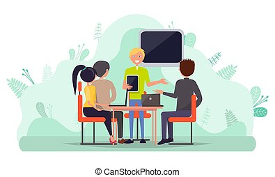 collaborazione, personale, vettore, laptop, persone