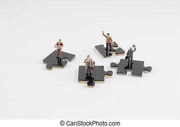 collaborer, gens, puzzle, puzzle, haut, morceaux, tenue
