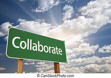 collaborer, vert, panneaux signalisations