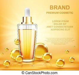 collagène, soin, sérum, arrière-plan., vitamine, concept., produits de beauté, peau, figure, prime, annonce, template., conception
