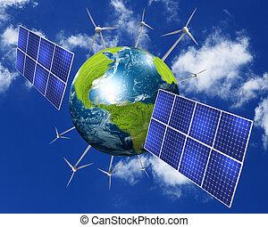 collage, à, solaire, piles