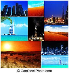 collage, árabe, imágenes, unido, emiratos