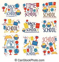 collage, école, composition, dos
