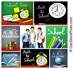 collage, école, concept, dos