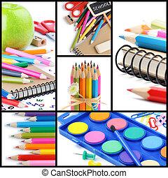 collage, école, supplies., coloré