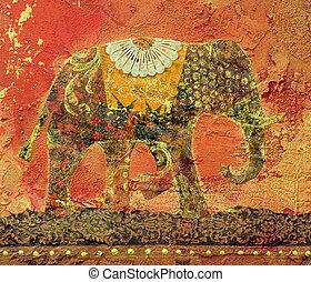 collage, éléphant