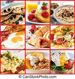 collage, śniadanie