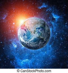 collage, światowa kula, przestrzeń