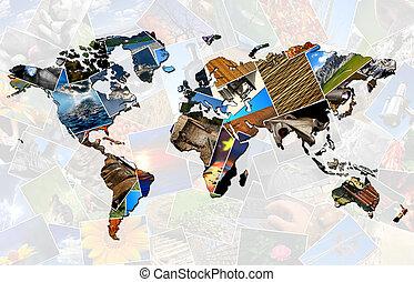 collage, światowa mapa