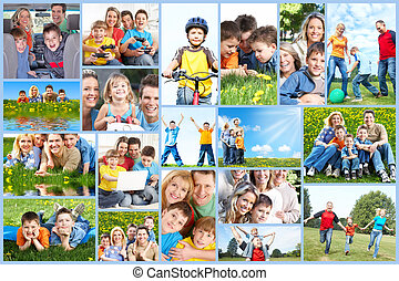 collage., משפחה, שמח