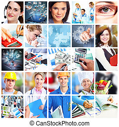 collage., ビジネス 人々