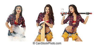 collage., 性感, 女孩, 由于, 建設, 工具