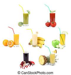 collage., 眼鏡, ......的, juice., 不同, 水果