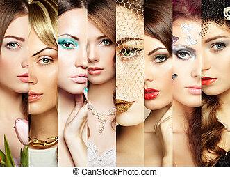 collage., 顔, 美しさ, 女性