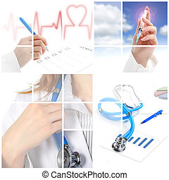 collage., 의학 개념, 위의, 백색, 배경.