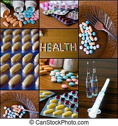 collage, 2 médico, -