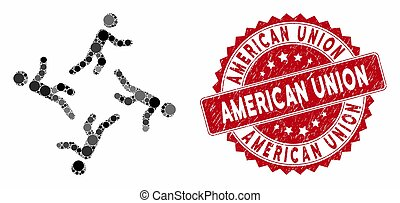 Mosaic 4 moving men and rubber stamp watermark with American Union caption. Mosaic vector is created with 4 moving men icon and with random spheric items. American Union stamp seal uses red color,