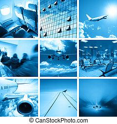 collage, aéroport, business