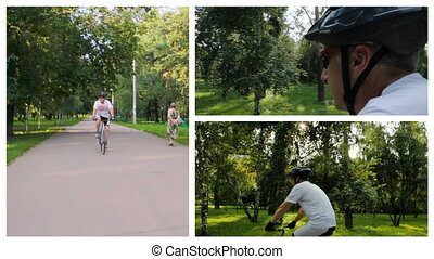 Collage. A man rides a bicycle in the park on a sunny day.