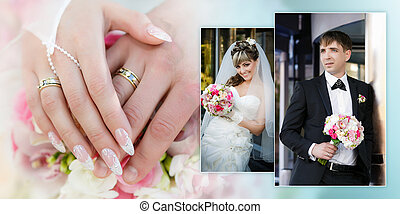 Collage - a portrait of the groom and the bride with a wedding bouquet and hands with rings close up