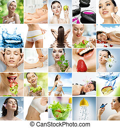 eating and healthcare - collage about healthy eating and...