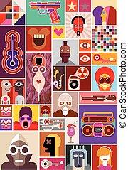 collage, abstracte kunst