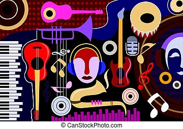 collage, abstrakcyjny, muzyka, tło