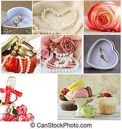 collage, accesorios, boda