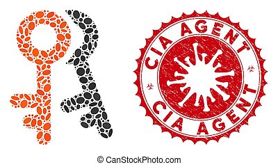 Collage Access Keys Icon with Coronavirus Textured CIA Agent...