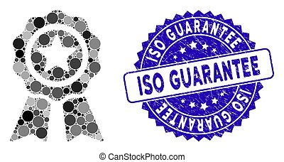 Collage Achievement Seal Icon with Scratched ISO Guarantee Stamp