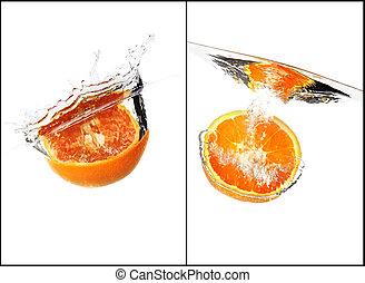 collage, acqua, schizzo, set, arancia