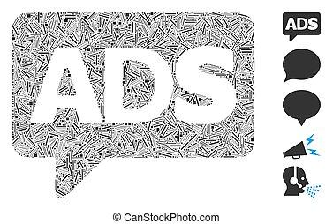 collage, advertisiment, icona, portello, messaggio