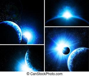 collage, afbeeldingen, 4, planeet