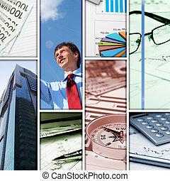 collage, afbeeldingen, enig, zakelijk