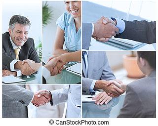 collage, afbeeldingen, het tonen, zakenlui