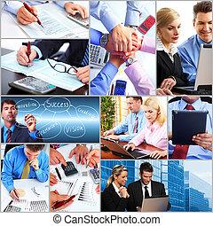 collage., affaires gens, équipe