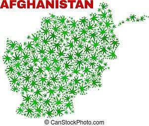 collage, afghanistan, foglie, marijuana, mappa
