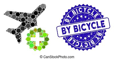 Collage Airplane Addition Icon with Distress By Bicycle Seal
