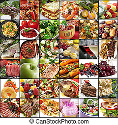 collage, alimento, grande