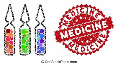 Collage Ampoules with Scratched Medicine Stamp